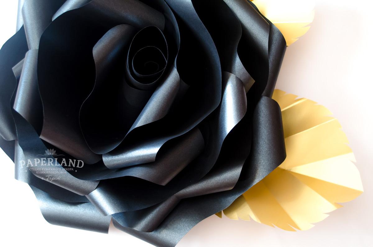 Бумажные цветы розы черного цвета